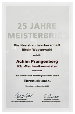 Urkunde 25 Jahre Meisterbrief